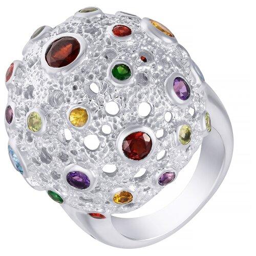 ELEMENT47 Кольцо из серебра 925 пробы с сапфирами, цитрином, гранатами выращенными, топазами, цаворитами, перидотами и аметистами 3306-5R_SM_AM_BT_CT_GRB_PD_TV_WG, размер 18.5