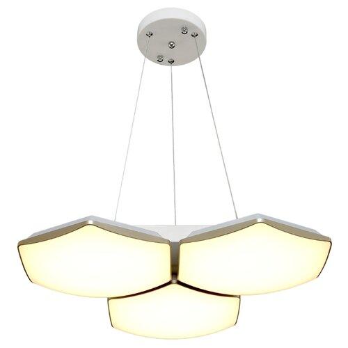 Люстра светодиодная Максисвет Панель 2-7319-3-WH+GL Y LED, LED, 36 Вт