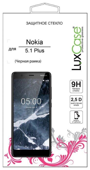 Защитное стекло LuxCase для Nokia 5.1+ 2.5D (черное)