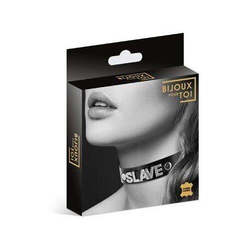 Bijoux pour Toi Чокер с надписью Collier Strass Slave Cuir Bovin 6050130010 46см