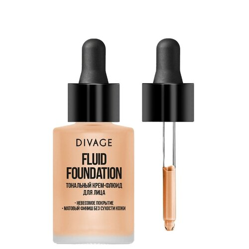 DIVAGE Тональный флюид Fluid Foundation, 30 мл, оттенок: 02 3ina тональный флюид the nude foundation 30 мл оттенок 301