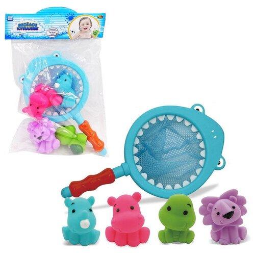Купить Набор для ванной ABtoys Веселое купание. Сачок с 4-мя зверятами (PT-01244) голубой/розовый/зеленый/фиолетовый, Игрушки для ванной