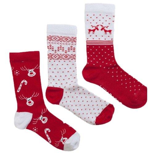 Носки Lunarable Олени, 3 пары, размер 35-39, красный/белый