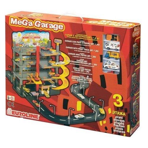 Купить Нордпласт Мега гараж (с дорогой) красный/желтый/серый/черный, Детские парковки и гаражи