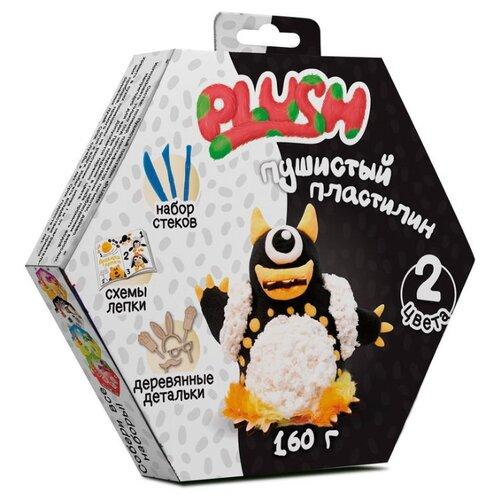 Купить Масса для лепки PLUSH пушистый черный + белый 160 гр (PL02201807), Пластилин и масса для лепки