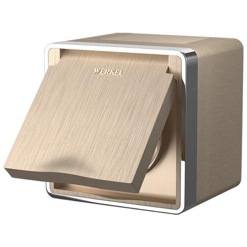 Розетка Werkel WL15-02-04 (a041420),16А, с защитной шторкой, с заземлением, бежевый розетка xiaomi mi smart plug wifi 16а с защитной шторкой с заземлением белый