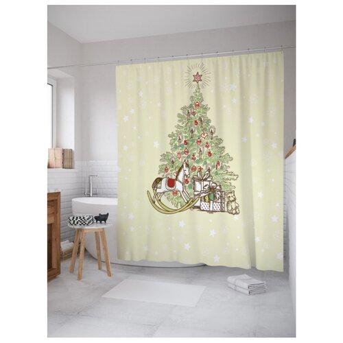 Фото - Штора для ванной JoyArty Подарки ждут под елкой 180x200 бежевый/зеленый подарки под елкой веселые задания головоломки раскраски