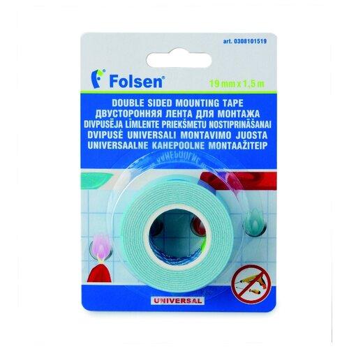 Клейкая лента монтажная Folsen 308101519, 19 мм x 1.5 м клейкая лента универсальная folsen 51044850 48 мм x 50 м