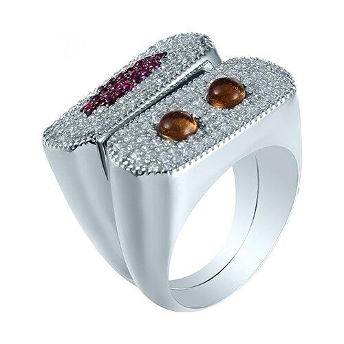 JV Кольцо с стеклом и фианитами из серебра R28027-KO-US-001-WG, размер 18 jv кольцо с стеклом и фианитами из серебра se2617 r ko us 001 blk размер 18