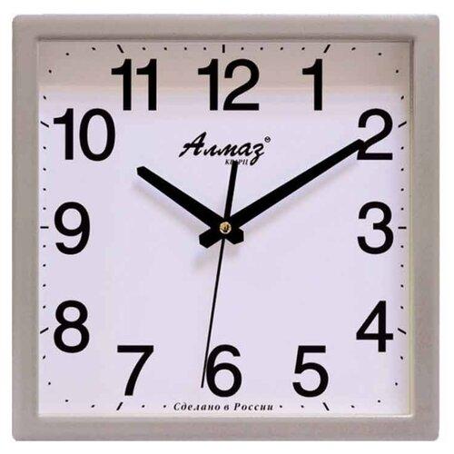 Часы настенные кварцевые Алмаз K51 серебристый/белый