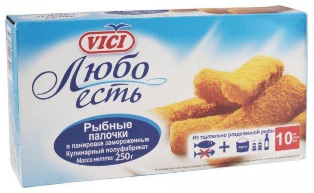 Vici Рыбные палочки замороженые Любо есть в панировке коробка 250 г