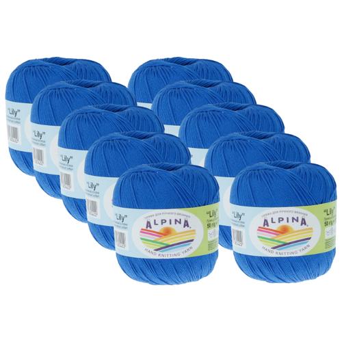 Пряжа Alpina Lily, 100 % хлопок, 50 г, 175 м, 10 шт., №100 синий пряжа alpina katrin 100 % хлопок 50 г 140 м 10 шт 155 желтый синий белый салатовый