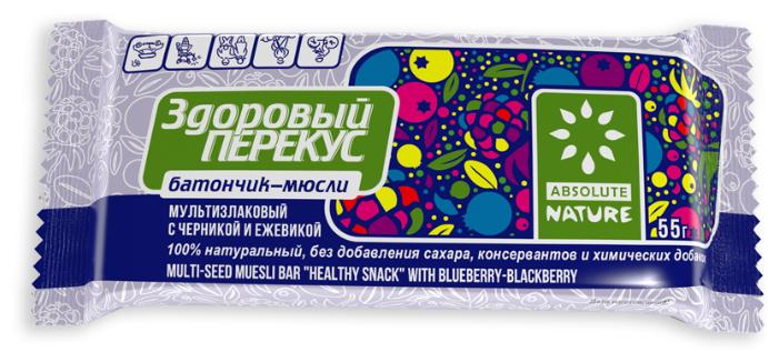 Злаковый батончик Absolute NATURE Здоровый перекус без сахара с черникой и ежевикой, 55 г