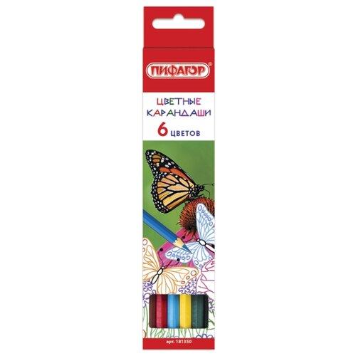Пифагор Карандаши цветные Бабочки, 6 цветов (181350) восковые карандаши пифагор 12 цветов 222962