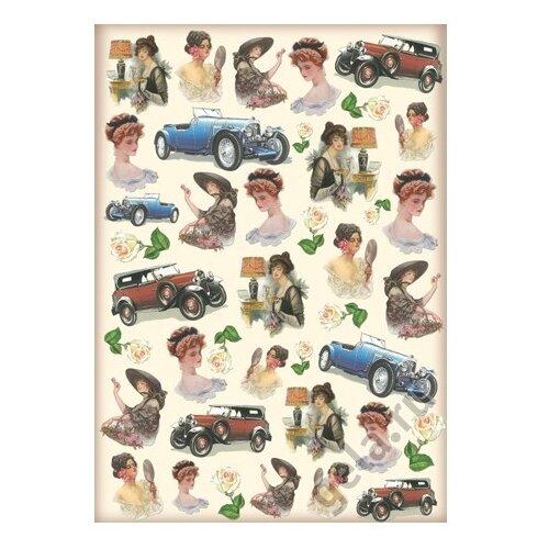 Купить Карта для декупажа Леди и авто 50 х 70 см 1 лист, Stamperia, Карты, салфетки, бумага