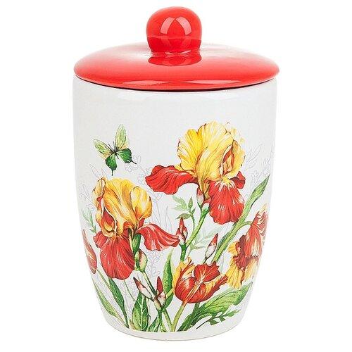 Polystar Global Art Банка для сыпучих продуктов (конус) Касатик 600 мл белый/красный