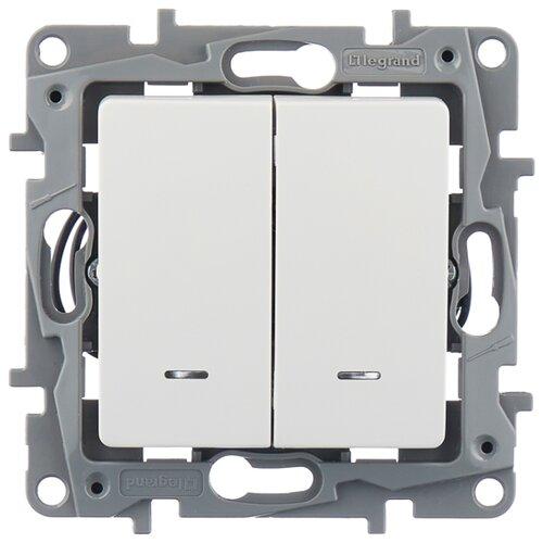 Выключатель 2х1-полюсныйвыключатель / переключатель Legrand Etika 672204,10А, белыйРозетки, выключатели и рамки<br>