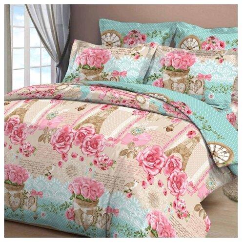 Постельное белье семейное Letto B36 70х70 см, бязь розовый/голубой/коричневый