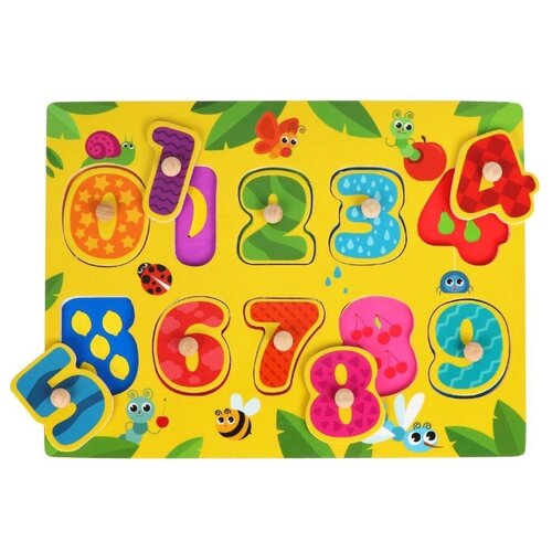 Купить Рамка-вкладыш Mapacha Изучаем цифры (76788), 10 дет. желтый, Пазлы