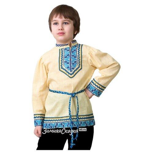Батик Национальная рубашка вышиванка с голубым узором, рост 116 см 5605-1-116-60 рубашка fleur de vie 24 1860 рост 116 синий