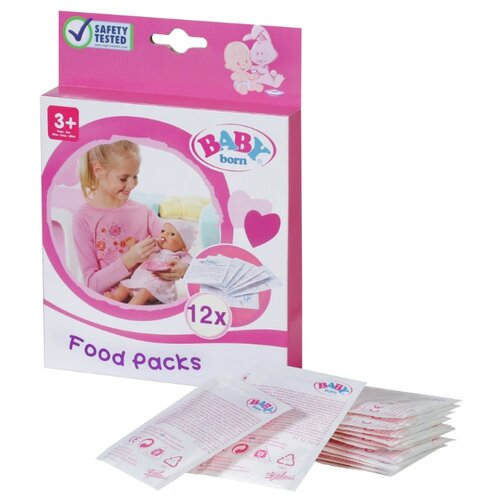 Купить Детское питание Zapf Creation Baby born 12 пакетиков (779-170) белый, Аксессуары для кукол