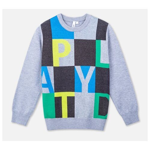 Купить Джемпер playToday размер 116, темно-серый/серый/голубой/светло-зеленый, Свитеры и кардиганы