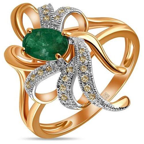 ЛУКАС Кольцо с изумрудом и бриллиантами из красного золота R01-D-33861-EM, размер 16.5 фото