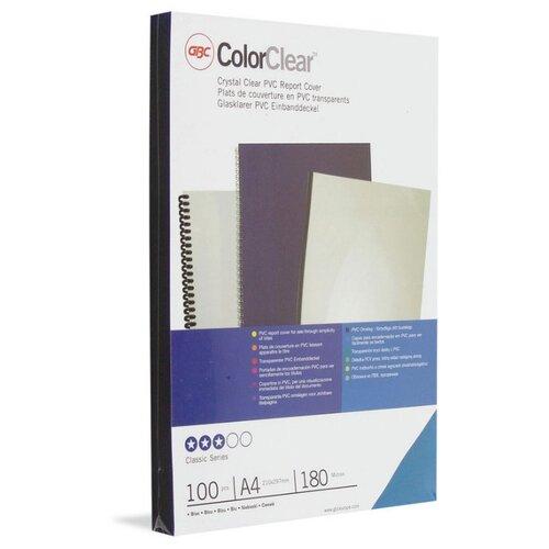 Обложки для переплета пластиковые GBC прозрачный синие, А4, 180мкм, 100 штук в упаковке