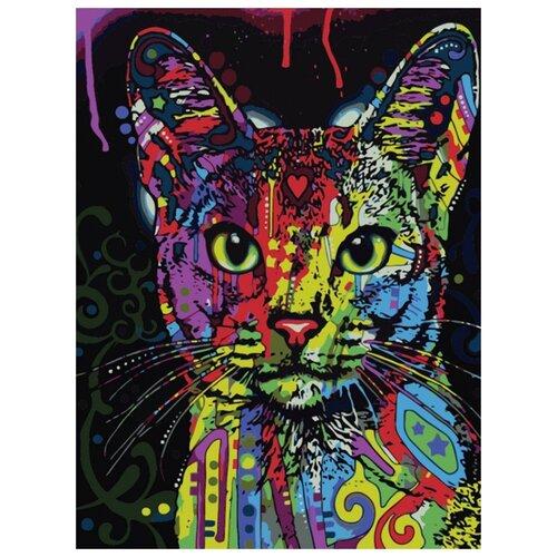 Цветной Набор алмазной вышивки Кошка поп-арт (LE021) 30x40 см