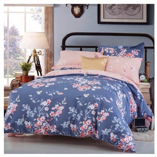цена Постельное белье 2-спальное СайлиД B-176, сатин синий/розовый онлайн в 2017 году