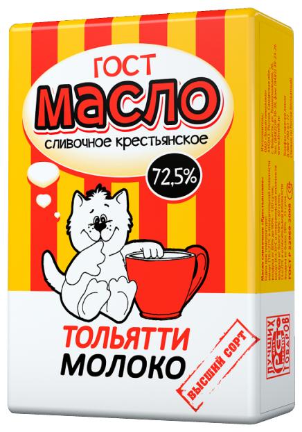 Тольятти молоко Масло сливочное Крестьянское 72.5%, 180 г