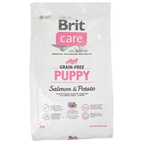 Сухой корм для щенков Brit Care, беззерновой, лосось, с картофелем 3 кг