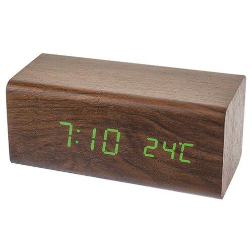 Часы с термометром Perfeo BLOCK (PF-S718T) коричневый / зеленый  - купить со скидкой