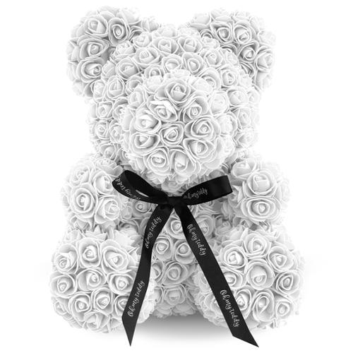 Kani Мишка из 3D роз, 40 см белый