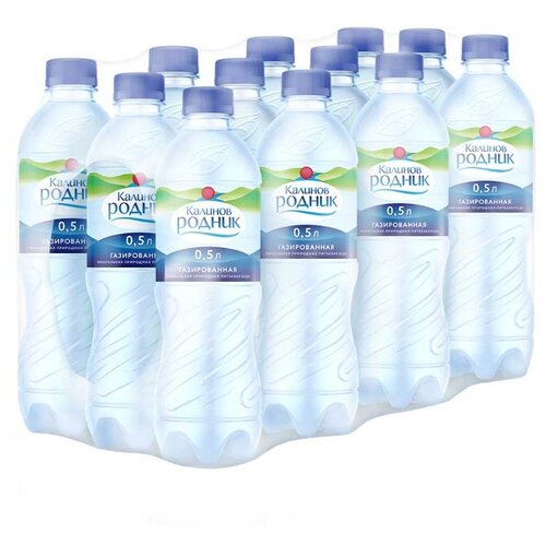 Вода минеральная Калинов Родник газированная, ПЭТ, 12 шт. по 0.5 лВода<br>
