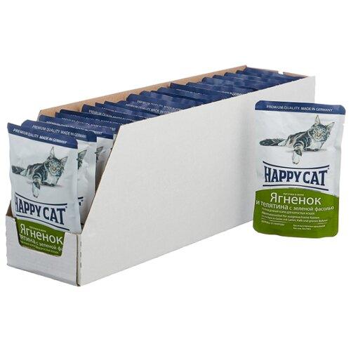 Корм для кошек Happy Cat с ягненком, с телятиной, с зелёной фасолью 22шт. х 100 г (кусочки в желе) happy cat для взрослых кошек с ягненком телятиной и зеленой фасолью в желе 100 гр 100 гр