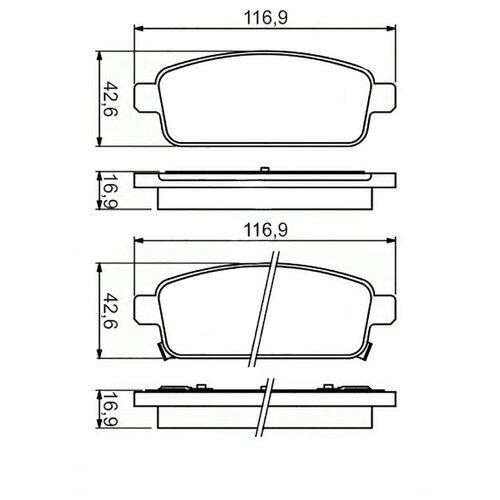 цена на Дисковые тормозные колодки задние Daewoo 13319293 для Chevrolet Cruze, Chevrolet Orlando (2 шт.)