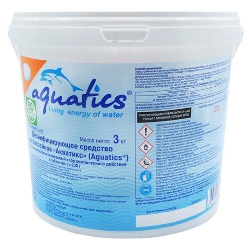 AQUATICS / Медленный стабилизированный хлор 3 в 1 (хлор,альгицид,коагулянт) в таблетках по 200 г. 3кг. по цене 2 167