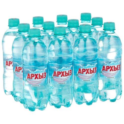 Минеральная вода Архыз газированная, ПЭТ, 12 шт. по 0.5 л минеральная питьевая столовая вода легенда гор архыз негазированная пэт 1 5 л