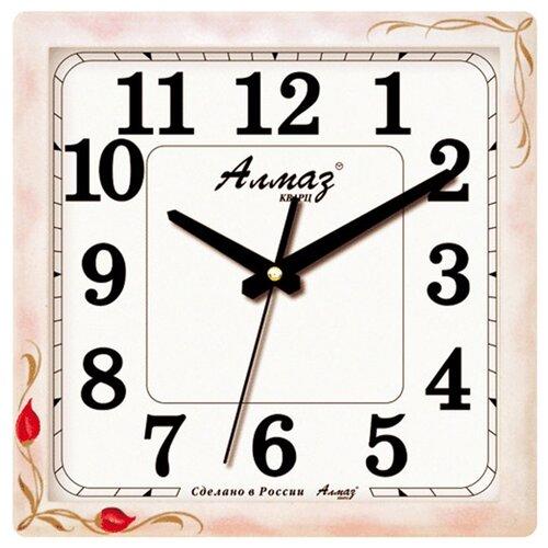 Часы настенные кварцевые Алмаз K67 белый/розовый часы настенные кварцевые алмаз c25 розовый бежевый