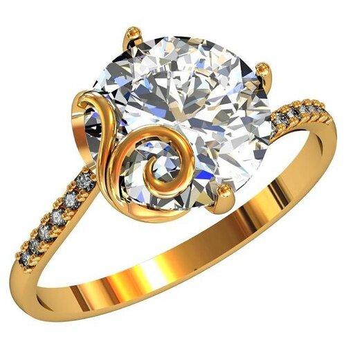 Фото - Приволжский Ювелир Кольцо с 13 фианитами из серебра с позолотой 262533-FA11, размер 19 приволжский ювелир кольцо с 65 фианитами из серебра с позолотой 252119 fa11 размер 19 5