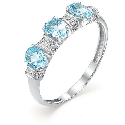 АЛЬКОР Кольцо с фианитами и топазами из серебра 01-0263-00ТБ-00, размер 18 кольца алькор 01 0263 00ag 00