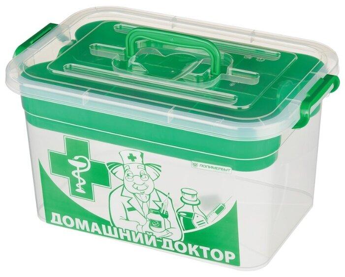 Аптечка ПОЛИМЕРБЫТ Домашний доктор с вкладышем зеленый