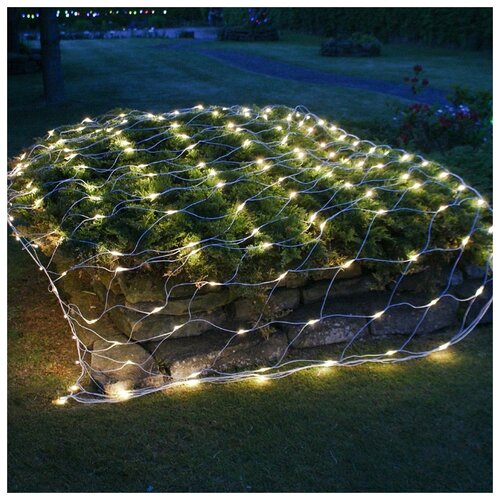 Гирлянда Vegas Сеть световая мигающая (150 x 120 см), 144 ламп, теплый белый/холодный белый/прозрачный провод недорого