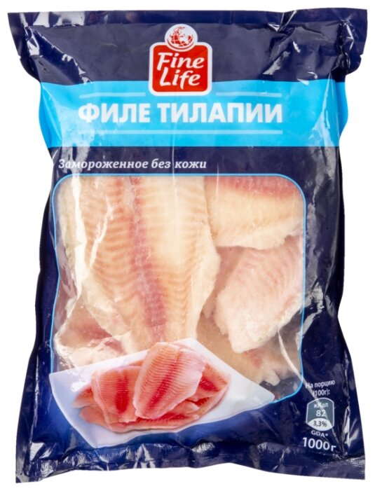 Fine Life Замороженная тилапия филе без кожи 1000 г