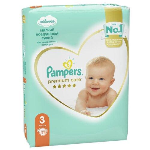 Купить Pampers подгузники Premium Care 3 (6-10 кг) 74 шт., Подгузники