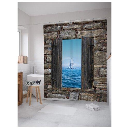 Штора для ванной JoyArty Морское окно 180х200 (sc-16500) разноцветный