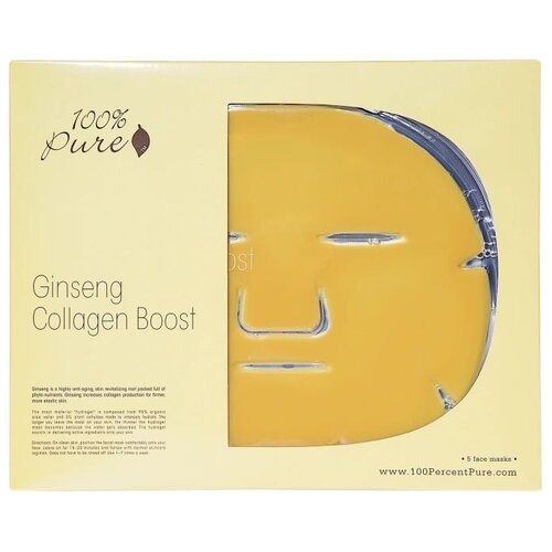 100% Pure Ginseng Collagen Boost Mask Гидрогелевая маска с женьшенем, 60 г, 5 шт.