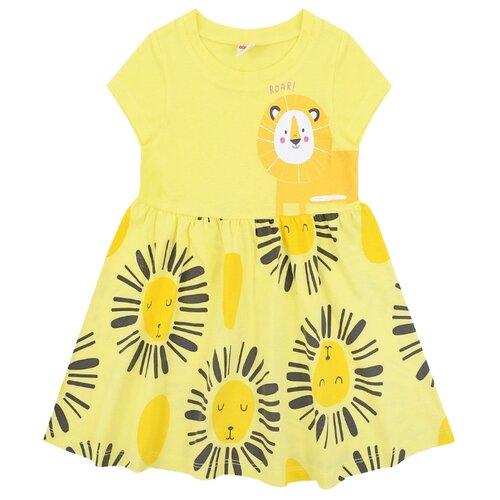 Платье Optop Львята размер 128, бледный лимон