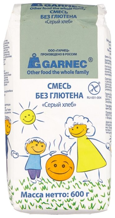 Гарнец Смесь Серый хлеб без глютена, 0.6 кг